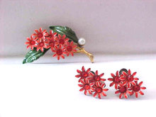 Enamel Flower Set Rhinestones Pin Earrings Vintage Orange