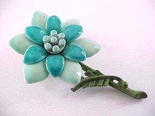 Teal Enamel Flower Pin Vintage 2 Tone