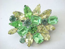 Mixed Greens Pin Rhinestones Vintage So Pretty!