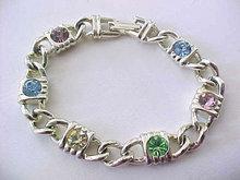 Vintage Pastel Bracelet Rhinestones Chain Link
