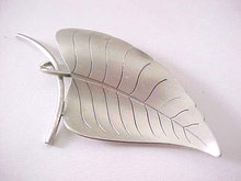 Sterling Leaf Pin Brooch Signed Vintage Matte 3 Inches