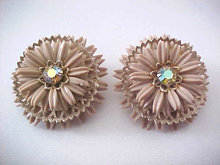 Taupe Flower Earrings Layered Rhinestone Cut Out Vintage LARGE