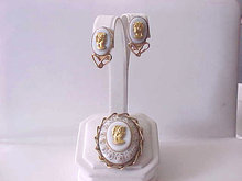 Costume Cameo Set Vintage Brooch Earrings Roses