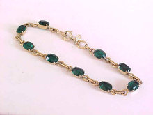 Green Oval Stone Bracelet Gold Filled Prong Set Signed Vintage Beautiful!