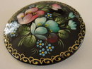 Russian Signed Lacquer Pin Floral Hand Painted