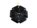 Victorian Mourning Pendant Antique Black Onyx Mabe Pearls Double Sided Carved