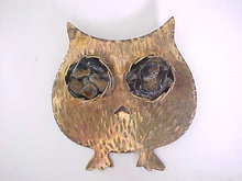 Vintage Bronze Owl Pin Large Tigereye Eyes Hand Wrought