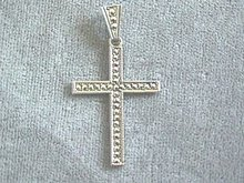 Gorgeous Sterling Marcasite Cross Pend,Bail
