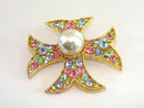 Vintage Multicolored Maltese Cross Rhinestones Decadent!