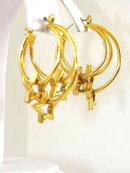 Movable Stars Hoops Earrings Pierced Locking
