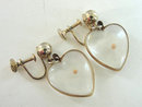 Hearts Mustard Seed Earrings Vintage Lucite Screw Backs