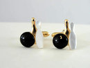 Vintage Bowling Ball Pin Cuff Links Cufflinks Enamel Mother of Pearl Signed