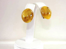 Chunky Marbled Butterscotch Bakelite Earrings Ovals! Vintage Clip Ons Beautiful!
