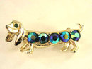 Vintage Dachshund Peacock Blue Rhinestones Dog Pin
