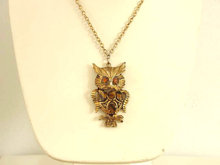 Vintage Genuine Tigereye Belly Owl Pendant Necklace Chain