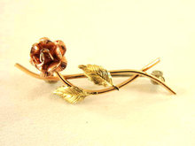 Vintage Krementz Rose Pin Two Tone Sweet