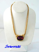 Swarovski Signed Neck Piece Necklace RED with Extender Gorgeous! Perfect for the Holidays!