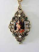 Vintage Three Women Transfer Pendant Necklace Rhinestones