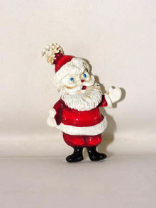 Vintage Old Santa Claus Pin Thick Enamel Red Suit