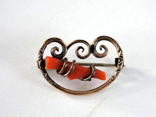Victorian Genuine Branch Coral Pin Scallops