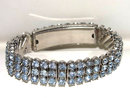Vintage Blue Rhinestone 3 Row Expansion Bracelet Hidden Box  Aquamarine Color