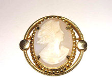 Large Shell  Cameo Brooch Pin Hand Carved Vintage