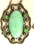 Deco Art Nouveau Necklace Brass Enamel Celluloid Wonderful Setting