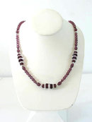 Vintage Amethyst Glass Crystal Long Necklace Faceted Beautiful!