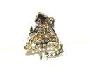 Vintage Old Girl Skirt Molded Flower in Hand Pin