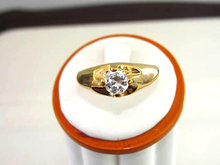 Chunky Signed Cubic Zirconia Solitaire Gents Ring Vintage