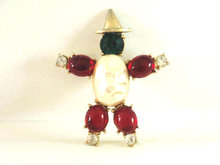 Signed Coro Gem Figural Man Pin Red Cabochons Rhinestones Vintage
