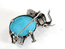 Signed Vintage Elephant Blue Cabochon Belly Pin Sterling Silver