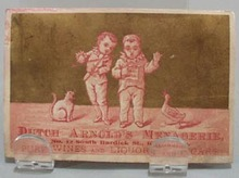 Victorian Trade Card Two Boys Dutch Arnold's Menagerie  1800's.