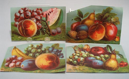 Victorian Prints of Fruit, 4 trade cards