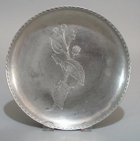 Wrought Farberware round Bowl. Botanical plant,