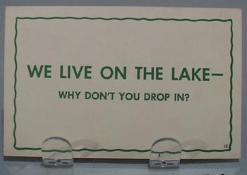 We Live On The Lake Humorous Post Card