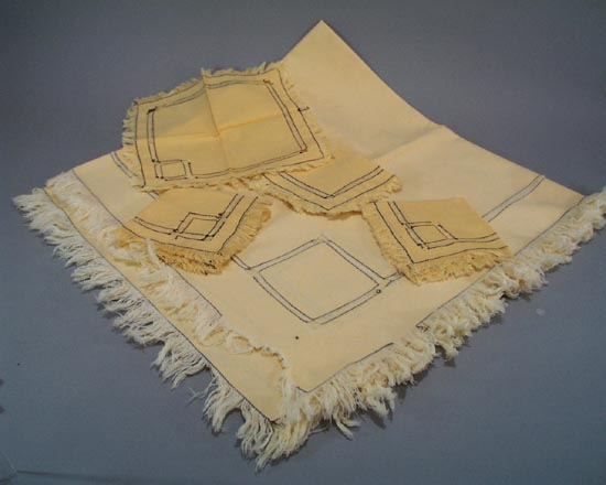 Pale Yellow Tablecloth Four Napkins