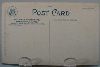 Baptism of Pocahontas Indian Post Card