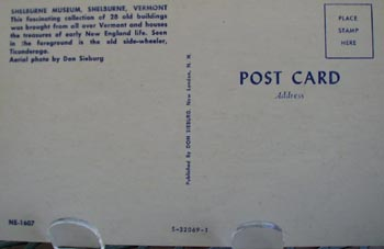 Shelburne Museum Air View Post Card.