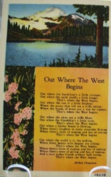 Out Where West Begins With Lake Post Card