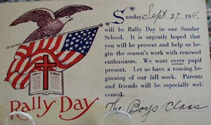 Rally Day with Eagle Religious Postcard