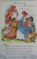 Jesus and Children Religious Postcard