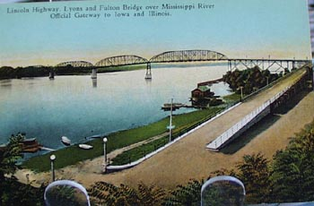 Lincoln Hgwy Fulton Bridge Iowa Postcard