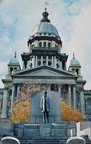 Ill State Capitol & A Lincoln Statue Postcard