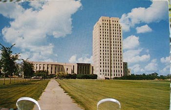 N. Dakota Capitol With Clouds Postcard