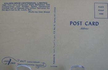 Golden Spike Ltd Lots of Smoke Postcard