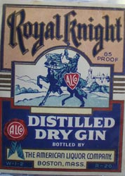 Royal Knight Dry Gin Bottle Label.
