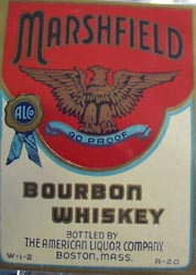 Marshfield Bourbon Whiskey Bottle Label