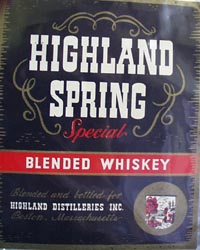 Highland Spring Whiskey Bottle Label.