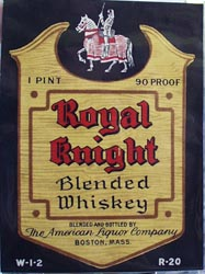 Royal Knight Whiskey Pint Bottle Label
